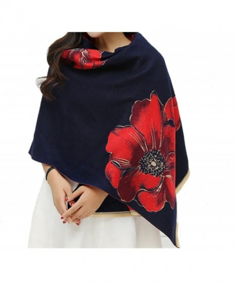 Fashion cashmere pashmina winter scarfs for women - Navy Blue&red - CM1882MXLWU