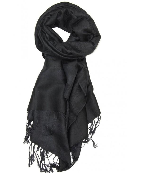 Achillea Two Tone Vintage Jacquard Paisley Pashmina Shawl Wrap Scarf - Black - C9185I7U8QL