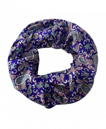Peach Couture Chic Graphic Paisley Printed Infinity Loop Scarf Various Colors - Royal Blue - CF12K9DTPMX