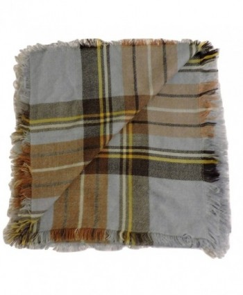 Water Gypsy Trendy Fashion Plaid Scarf Oversized Blanket Shawl for Winter - Light Blue and Tan - CD186QALO0R