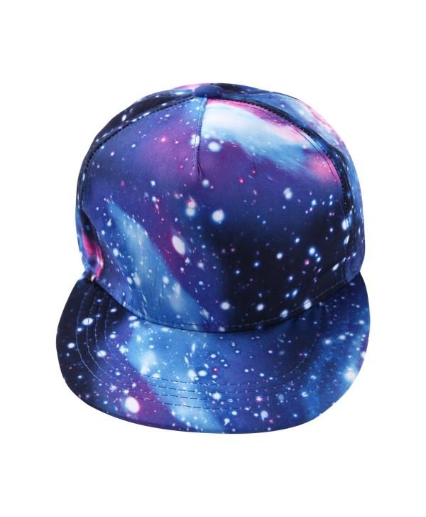 Misscat Hip-Hop Galaxy Printed Snapback Hat Flat Bill Adjustable Baseball Cap - CH12NZBDFHQ