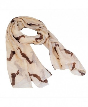 New Fashion 9 Color Animal Dachshund Dog Print Scarf Pashmina Women Scarves - Beige - CK125TLXRID