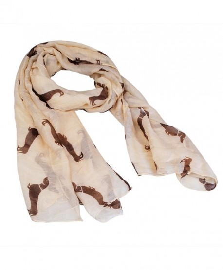 New Fashion 9 Color Animal Dachshund Dog Print Scarf Pashmina Women Scarves - Beige - CK125TLXRID