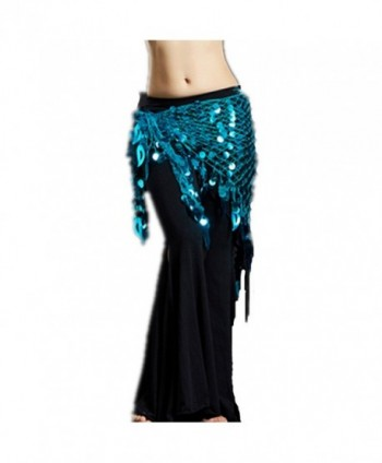 2018 Argentina Triangle Sparkling Belly Dance Hip Scarf Shawl Headscarf Best Gift - Lake Blue - CG18255ZOII