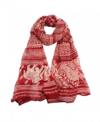 Sunward Women Lady Elephant Print Soft Long Shawl Wrap Scarf Pashmina Stole - Red - C5122V6CBIV