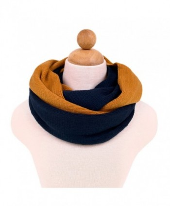 Two-Tone Winter Knit Warm Infinity Circle Scarf - Different Colors Available - Navy/Mustard - C211I7EQ9ML