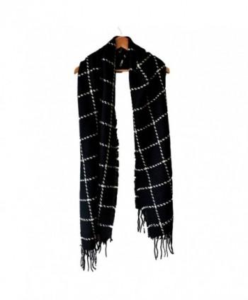 LARRONKETY Women's Fashion Long Shawl Big Grid Winter Warm Large Knit Thicken Tassel Scarf - Black - CB187ECUOX8