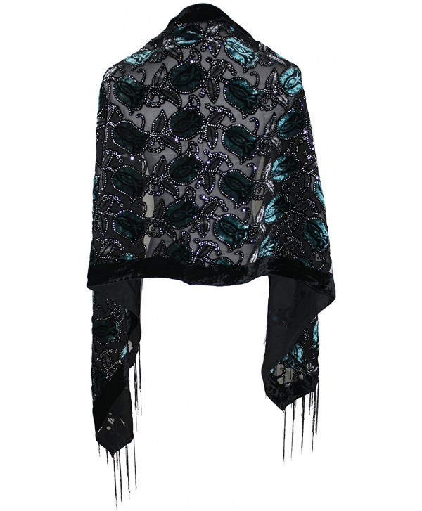 Ted and Jack - Exotic Velvet Burnout Brocade Scarf - Teal - CH12MA1IVVG