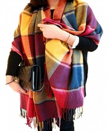 CHASOEA Womens Tassels Plaid Blanket Tartan Scarf Long Shawl Winter Warm Lattice Large Scarf - Multicolour - C71868GDX0W