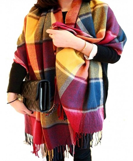 CHASOEA Womens Tassels Plaid Blanket Tartan Scarf Long Shawl Winter Warm Lattice Large Scarf - Multicolour - C71868GDX0W