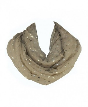 Shiny Triangle Print Trendy Hipster Soft Infinity Loop Figure Eight Scarf By Silver Fever Brand - Cream - CQ11PJ8RSEV