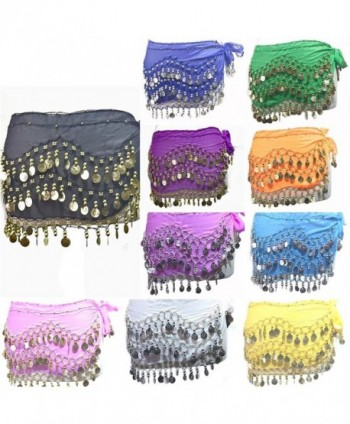 REINDEAR 12 Pcs Belly Dance Skirt Scarf Hip Wrap Belt Wholesale Low Price Voile Coins US Seller - CF11YCC0JCX
