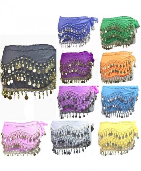REINDEAR 12 Pcs Belly Dance Skirt Scarf Hip Wrap Belt Wholesale Low Price Voile Coins US Seller - CF11YCC0JCX