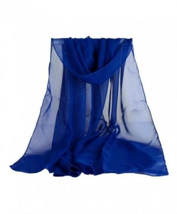 TONSEE Women Chiffon Scarf Fashion Shawl Stole - Blue - CT12LMT5EKZ