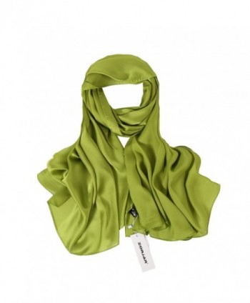 "ZORJAR Womens Silk Scarf Satin Sunscreen Shawls and Beach Long Wraps 70""x 35"" - Green1 - CF18C5XON3S"