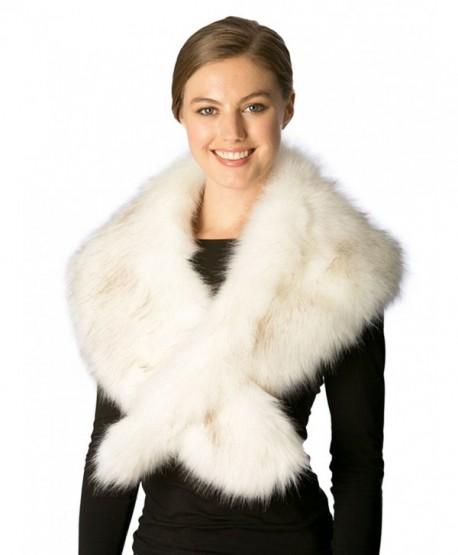 Momo Fashion Women's Fall Winter Faux Fur Shawl Scarf - 7229-ivory - CO185MWQGXX