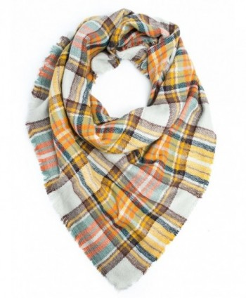 Bohomonde- Moira Plaid Blanket Winter Scarf or Shawl - Mustard/Orange - C21290KH5SR