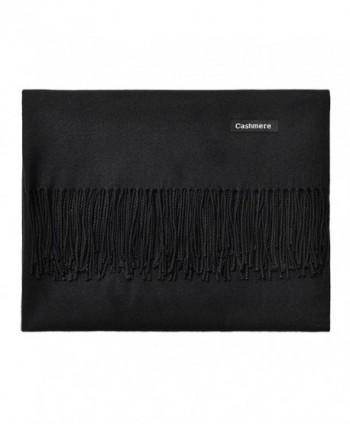 L'vow Women's Soft Cashmere Blend Evening Scarves Pashmina Cape Shawl Wraps Stole - Black - CD1873MS6QG