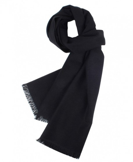 Kat Cheung Bahar 100% Silk Warm And Fashion Soft Brushed Scarf For Men Plain Color - Black - CS188O7OQZ8