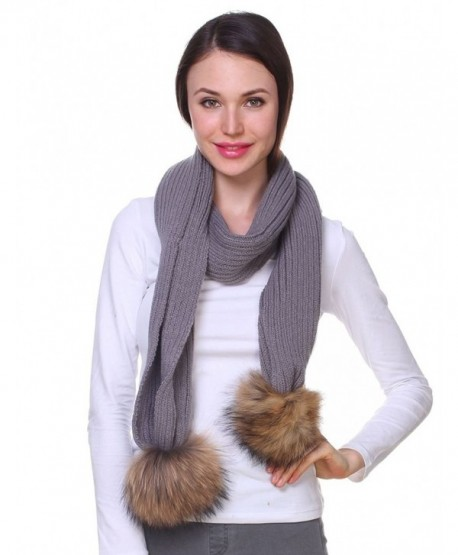 Ferand Ladies Women's Knitted Wool Scarf with Detachable Genuine Raccoon Fur Pom poms - Gray - C912N26B56W