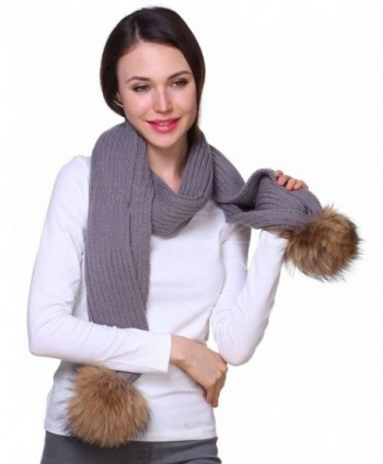 Ferand Knitted Detachable Genuine Raccoon in Cold Weather Scarves & Wraps