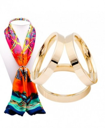 SHAN LI HUA Simple Design Three Rings Scarf Buckle Female scarf ring 18 k gold plated - golden - CB184QT0IED