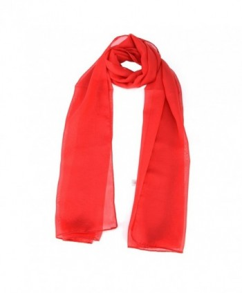 Women Ladies Shawl Plain Soft Long Chiffon Scarf Neck Head Scarves - Red - CQ17YADAAQL