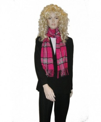 Cashmere Feel Unisex Pashmina Scarf in Checks and Plaid (FUCHSIA) - Fuchsia - C6115LTC0IH