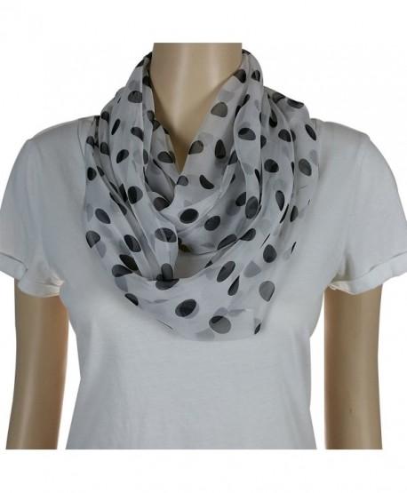 Silk Like Infinity Scarf Soft and Silky for Warm Weather - Polka Dot- White and Black - CJ11ZDBTMV1