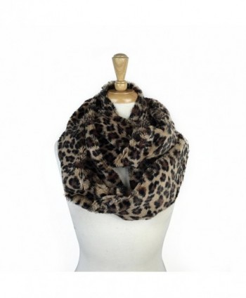 Paskmlna Super Soft Faux Fur Animal Print Warm Infinity Loop Circle Scarf -Diff Colors - Leopard2 - CT129PMNG5L