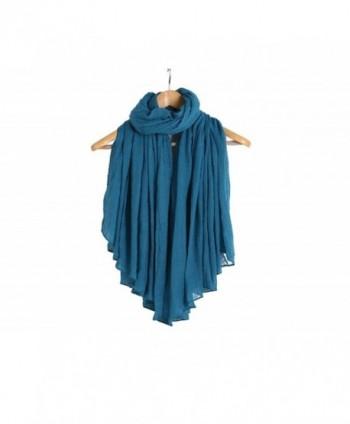 "Yonger 71""x59"" Women's Infinite Loop Scarves Linen Cotton Silk Scarf Soft Shawl - Light Blue - CO128JRGM31"