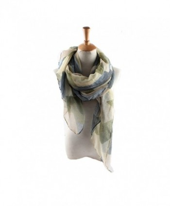 ctshow plaid Print Voile Print Scarf Fashionable Women Scarves The shawl - Blue and Green - CD182KM08R8