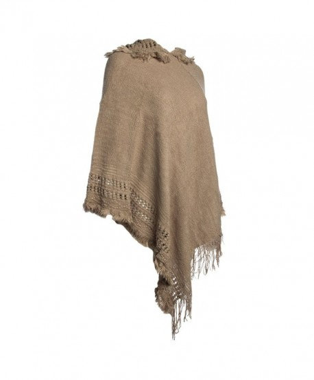 Tickled Pink Womens Knitted Batwing Poncho Pullover Top With Hoodie Fringe Ladies Shawl Scarf - Taupe - C4185YLDNRZ