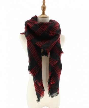 Jiao Miao Women's Soft Tartan Scarf Winter Large Blanket Wrap Shawl - 170801-red - CZ18695ELAW