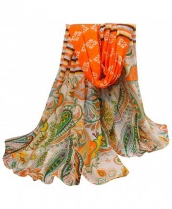 Multi Color Hovsgol Design Voile Pashmina Shawl Scarf Wrap Stole CJ Apparel NEW - Orange & Green - CO11QFD5VZ7