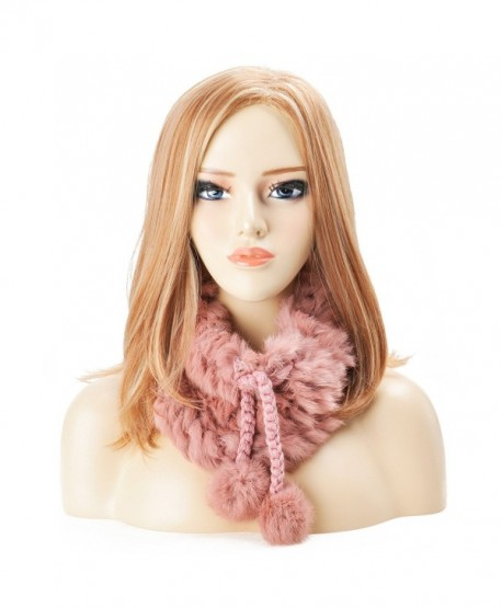 ZLYC Women Rex Rabbit Fur Two Way Use Neck Warmer Scarf Beanie Hat with Adjustable Drawstring - Pink - CB12LAMNL85