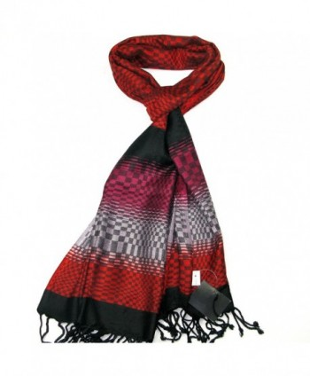 Lovarzi Women Checkered & Lens effect scarf - Colourful ladies pashmina scarves - Red - CC11HK2OTVJ