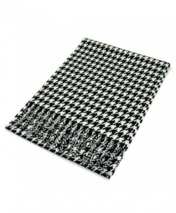 Classic Premium Unisex Houndstooth Winter Fringe Scarf - Different Colors Available - Black/White - CD115KISEXT