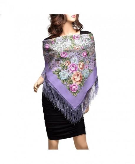 Pavlovo Posad Russian Shawl Purple №128 100% Wool 35x35'' - CN12GC66JWZ