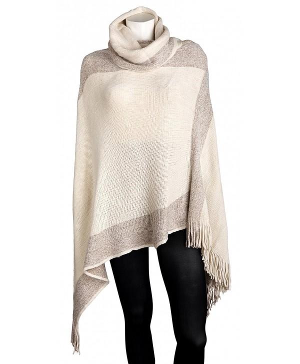 Sportoli Women's Thick Warm Knitted Winter Shawl Cape Poncho Wrap with Cowl Neck - Tan - CN11R9T87TD