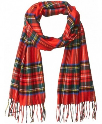 David & Young Softer Than Cashmere Acrylic Scarf with Fringe Accessory - Red Plaid - CA188A003SU