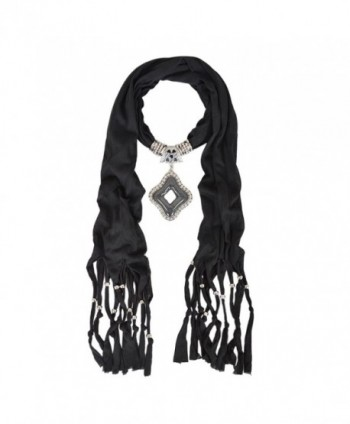 Elegant Diamond Charm Pendant Jewelry Necklace Scarf - Different Colors Avail - Black - C9129J4O3M5