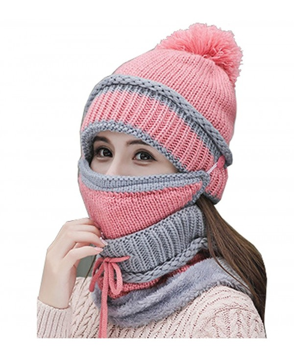Annymall Womens Beanie Hat Scarf Mask 3 In 1 Set- Winter Warm Slouchy Knit Cap and Scarf - Pink - C4188IDQE9E