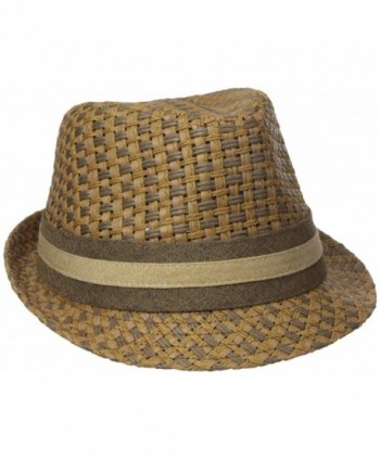 Henschel Men's Paper Straw Fedora with Two Tone Band - Brown - CM17YR8GRR4