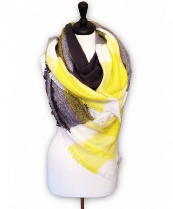 KnitPopShop Blanket Scarf Striped Oversized Plaid Tartan Scarves - Yellow and Black - CS186QN54DR