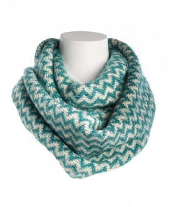 Tickled Pink Women's Chevron Infinity Scarf Soft Warm Winter Lightweight Oversized Shawl Wrap - Teal - CD186AIHW0T
