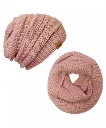 ALLYDREW Thick Knitted Winter Infinity Circle Scarf and Slouchy Beanie Set - Pink Petal - C2186KWX0XW