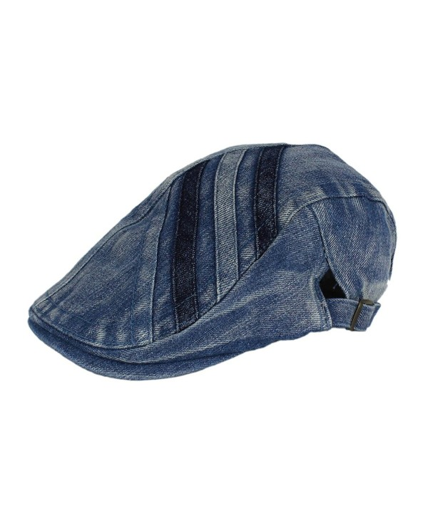 Denim Newsboy Jean Gatsby Cap Ivy Irish Flat Cabbie Driver Golf Hat BXG - Medium Blue - CT11U3P9STN
