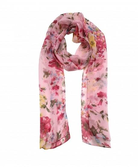 Modadorn 214 Misty Flower Chiffon Scarf - Pink - CL11KL18IO5