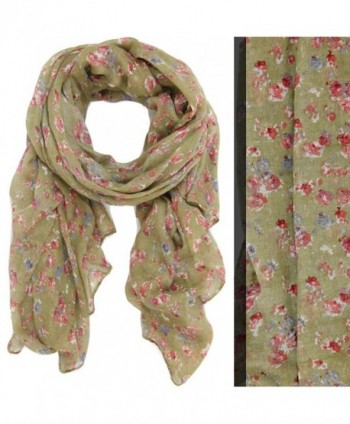 Bucasi English Floral Liberty Print Lightweight Fashion Scarf in Tan - C011FLRUSBF